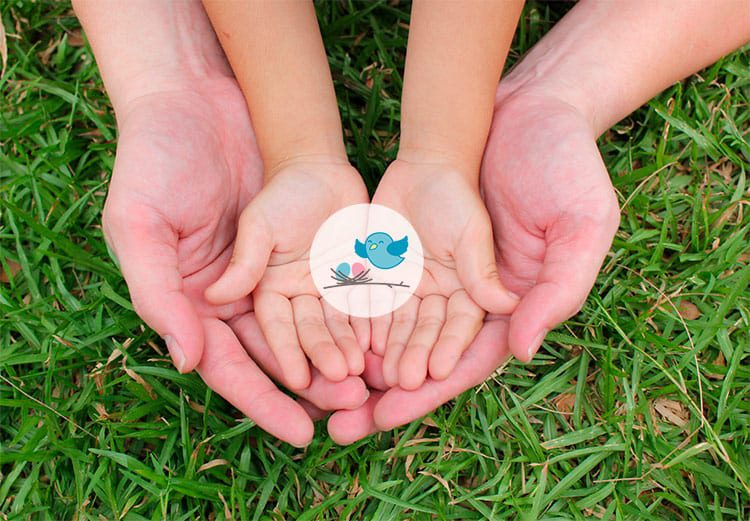 small hands with nest icon