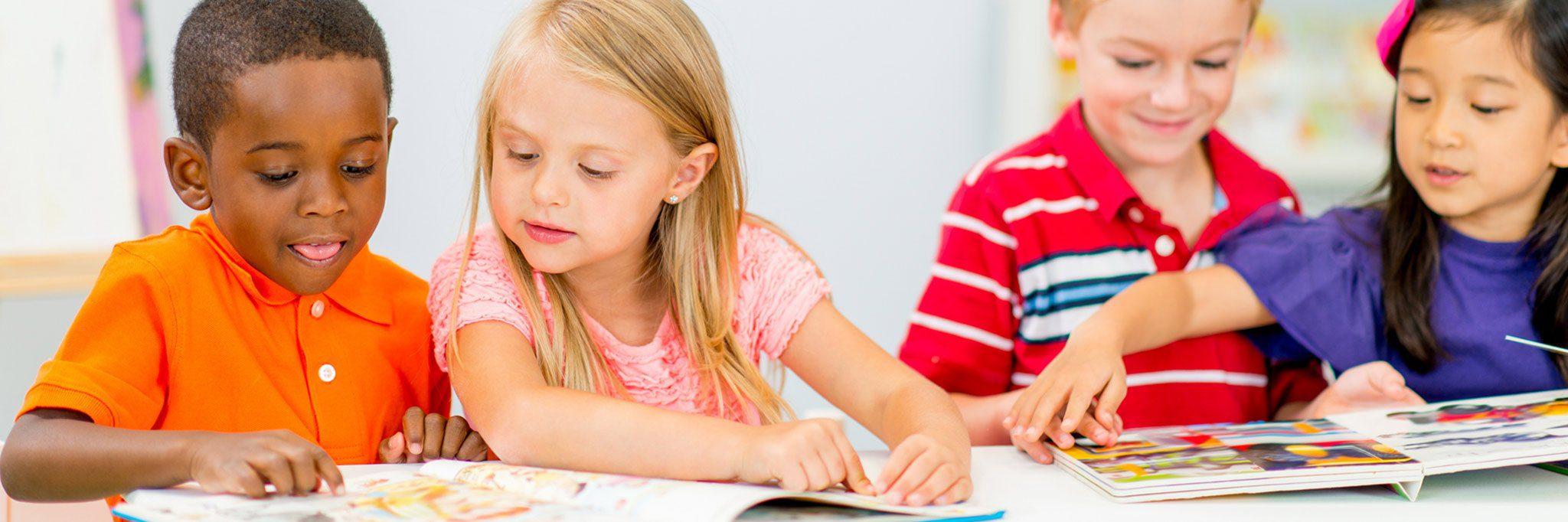 kindergarten children reading banner
